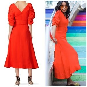 New Nicholas fathered sleeve bright red dress 4